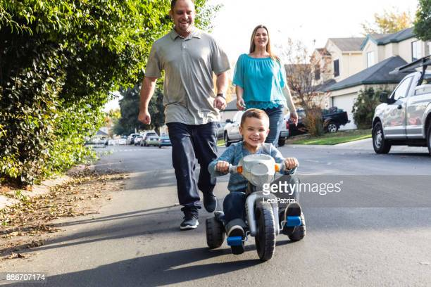 Happy american family enjoying time together