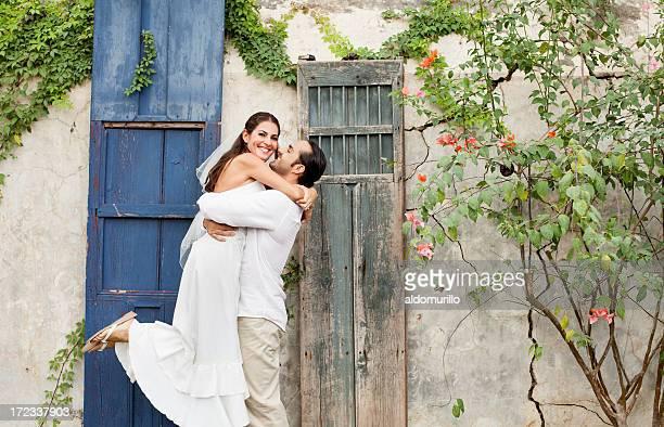 Happy and loving wedding couple