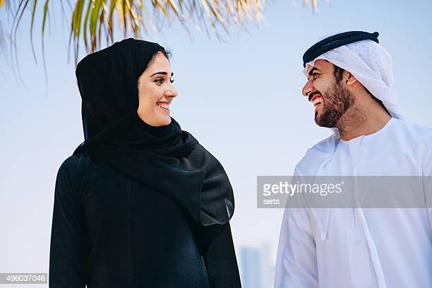 Happy Arab Couple enjoying at beach