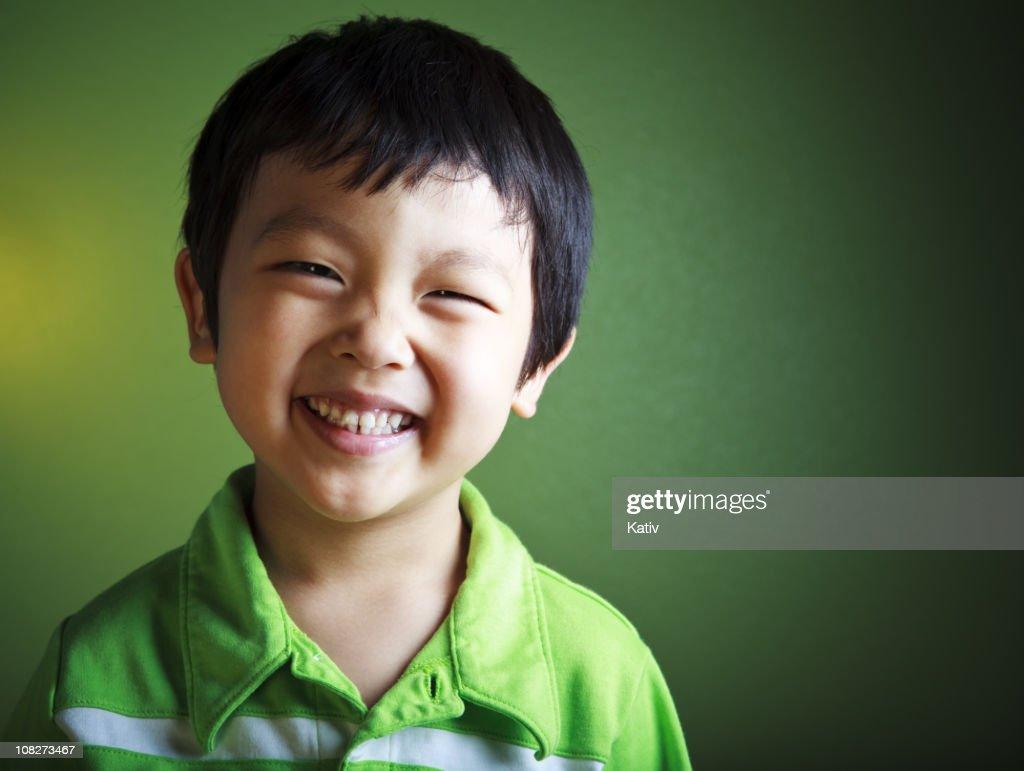 Happy Asian Boy Smiling : Stock Photo