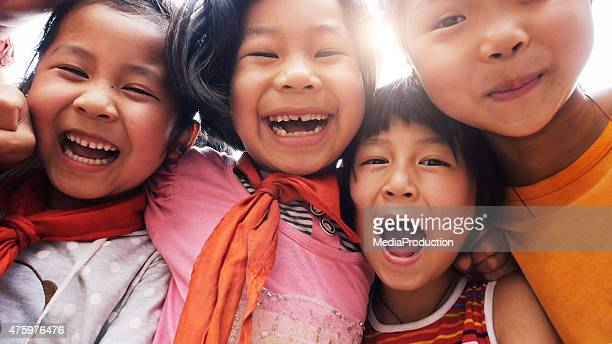 Happy asian children close up