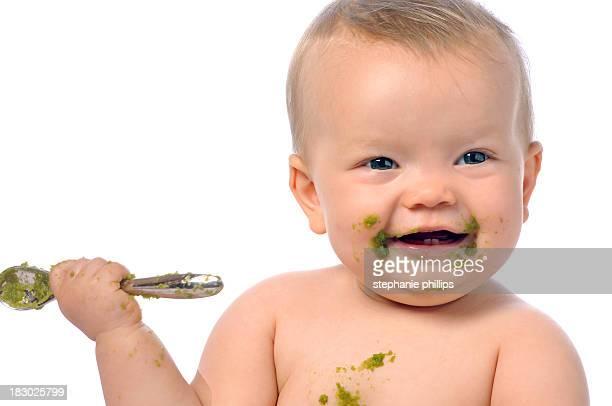 Happy Baby Füttern selbst grünen Bohnen