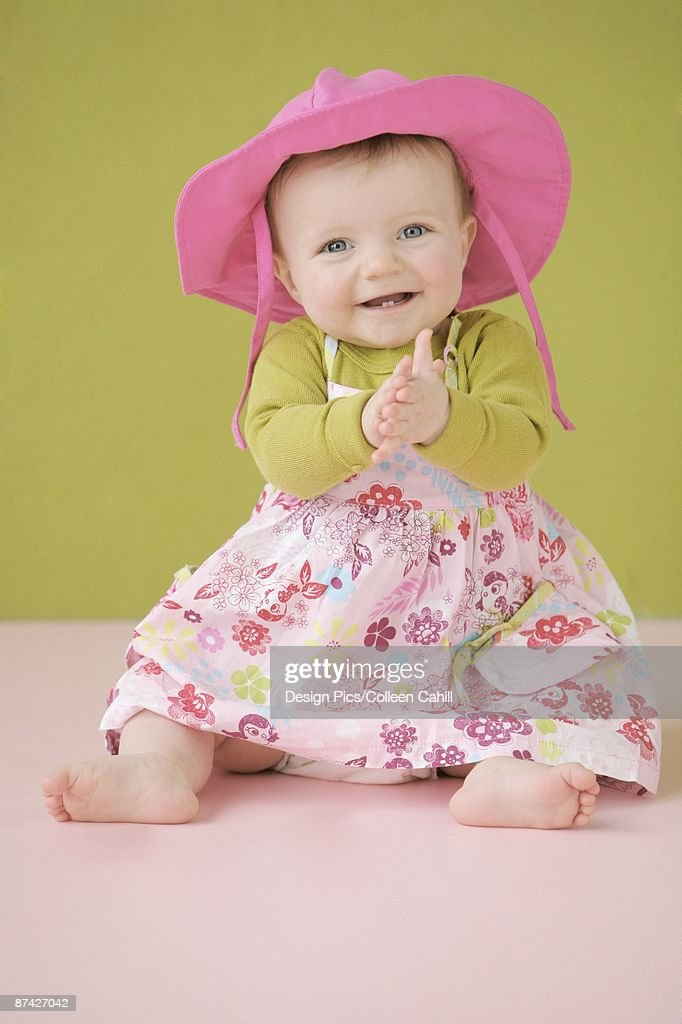 Summer dress baby girl laughing