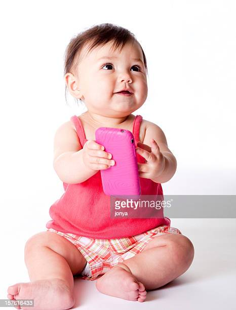 happy baby with cell phone