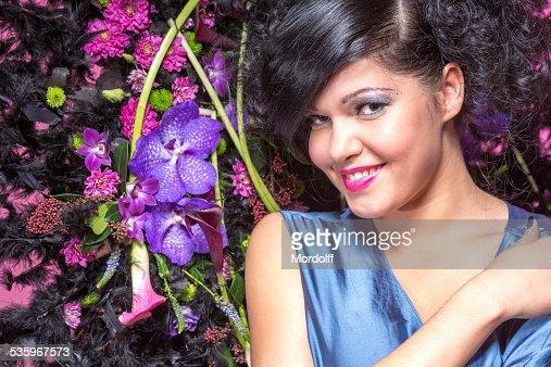 Happy beautiful brunette girl : Stock Photo