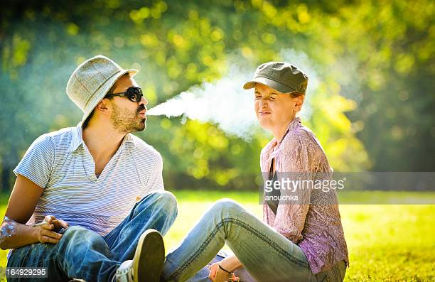 Happy Beautiful couple having fun in the park