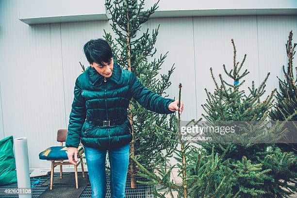 Happy Beautiful Woman Buying Christmas Tree, Europe