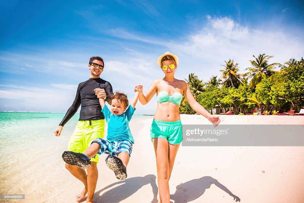 Happy beside the seaside : Stock Photo