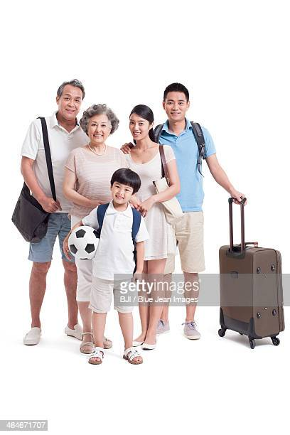 Happy big family going for vacation