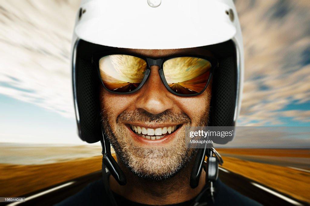 Happy biker : Stock Photo