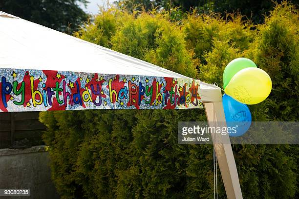 Happy Birthday balloons and banner