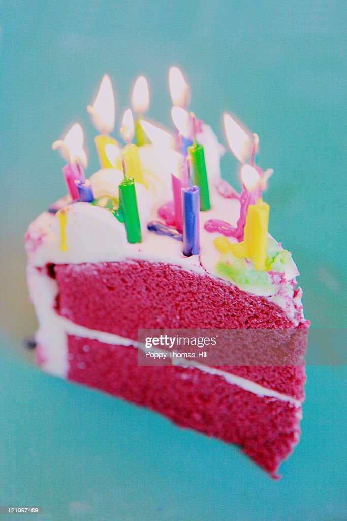 Happy birthday cake and candles : Stock Photo