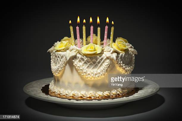 Happy Birthday Cake with White Frosting and lit Candles Hz