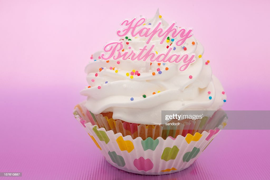 Happy Birthday Cupcake : Stock Photo