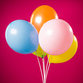 Happy birthday, five party multicolored balloons isolated on magenta