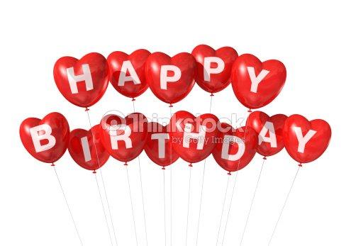 Messaggio Di Buon Compleanno Con Palloncini A Forma Di Cuore Rosso