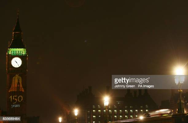 A Happy Birthday projection illuminates the south face of the Clock Tower of Big Ben with the message Happy Birthday Big Ben 150 years 1859 2009 in...