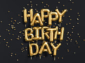 Happy Birthday text congratulations gold foil balloons on black background, greeting banner, 3d rendering