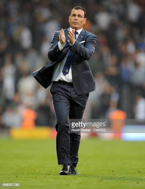 A happy Blackburn Rovers manager Gary Bowyer thanks the fans at the end of the game