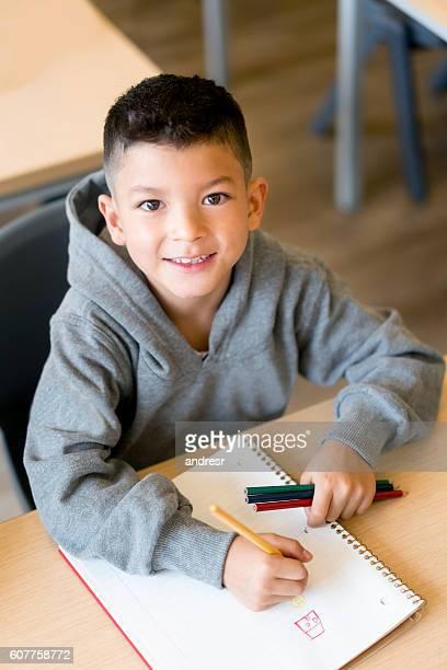 Happy boy at school