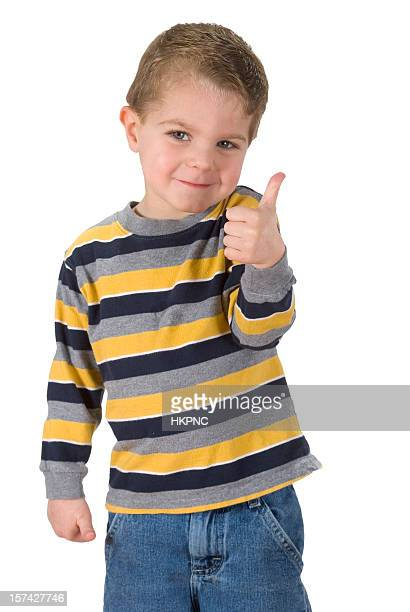 Happy Boy Giving a Thumps Up Sign, Isolated & Clipping Path