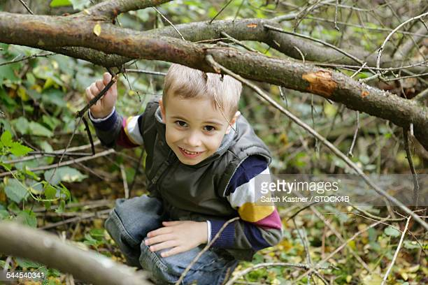 Happy boy in forest