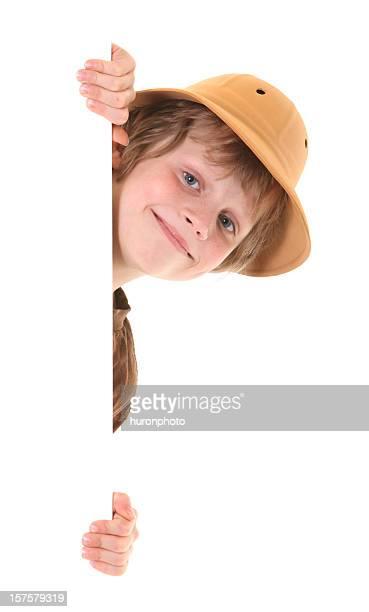 happy boy peeking
