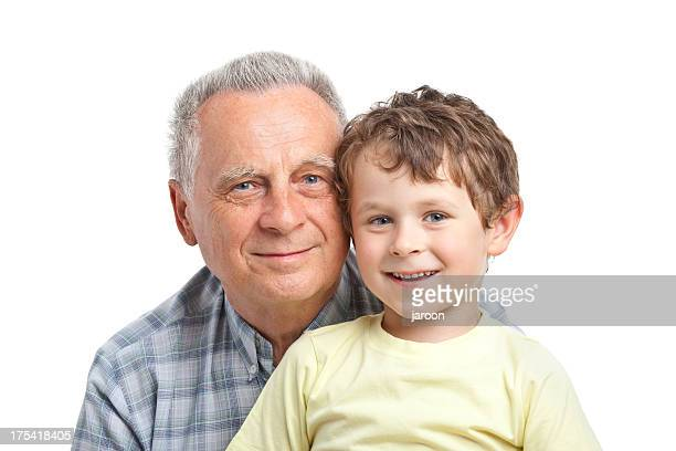 happy boy with grandfather