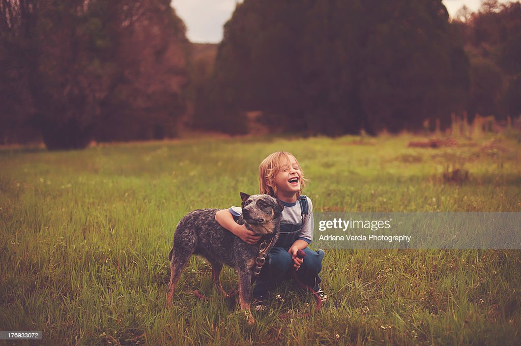 Happy boy with his dog : Stock Photo