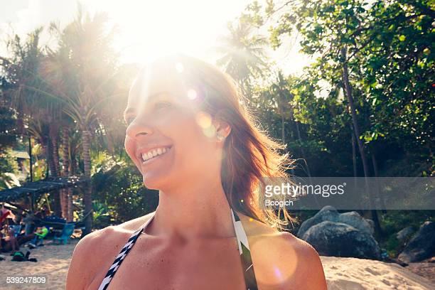 Happy Brazilian Woman on Tropical Island Thailand Holiday Vacation