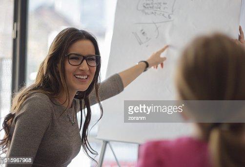 Happy buisnesswoman at meeting