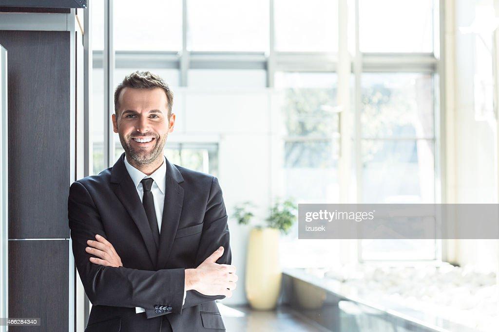Glücklich Geschäftsmann im Büro : Stock-Foto