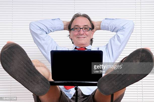 Happy Businessman Looking PC