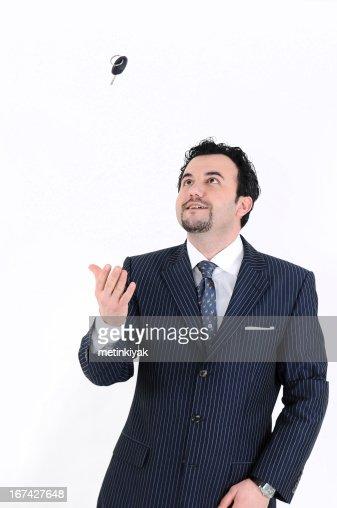 Feliz hombre de negocios con llave de coche : Foto de stock