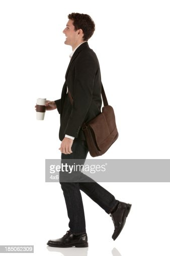 Happy businessman with coffee