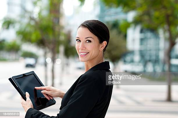 Happy Businesswoman with Digital Tablet Computer
