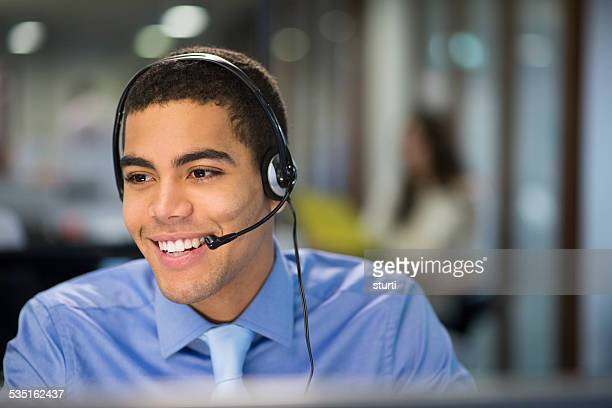 happy call centre rep
