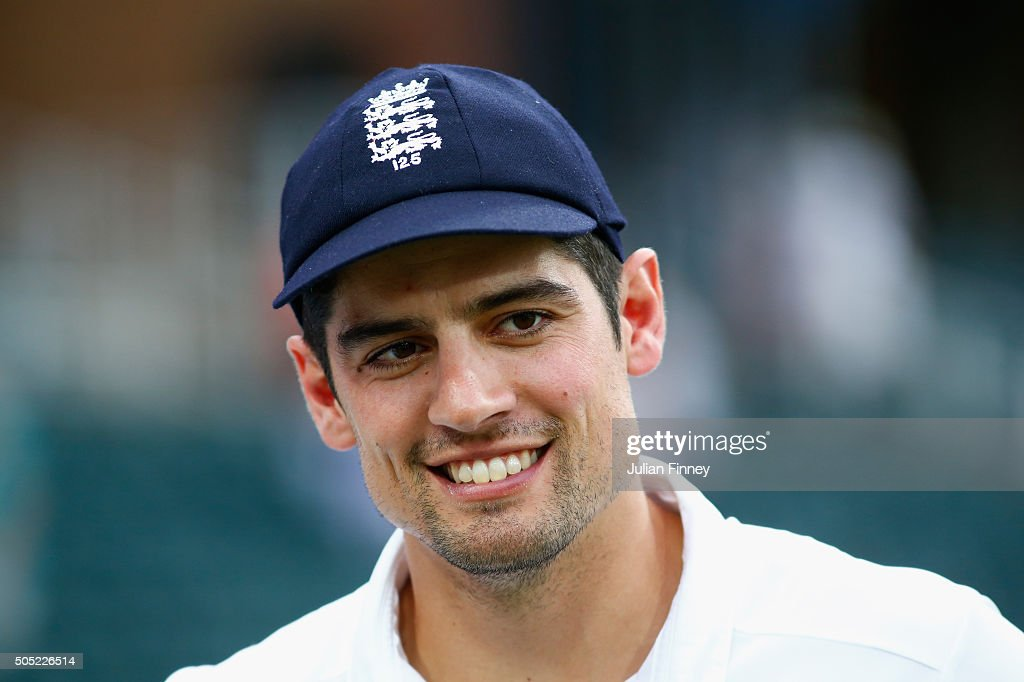 A happy captain Alastair Cook of England after securing the match win and series during day three of the 3rd Test at Wanderers Stadium on January 16, 2016 in Johannesburg, South Africa.