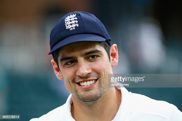 A happy captain Alastair Cook of England after securing the match win and series during day three of the 3rd Test at Wanderers Stadium on January 16...