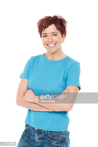 Casual donna caucasica felice