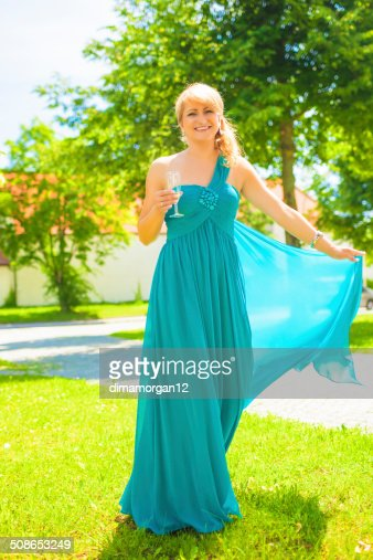 Happy Caucasian Woman With Wineglass : Stock Photo