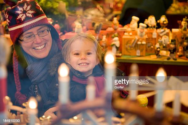 Happy child at Christmas market.