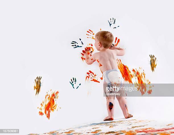 Glückliches Kind Fingerpainting