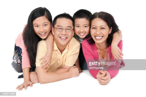 Happy Chinese Family of Four