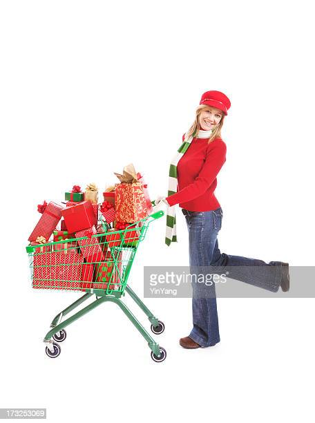 Happy Christmas Shopper with Shopping Cart and Gifts on White