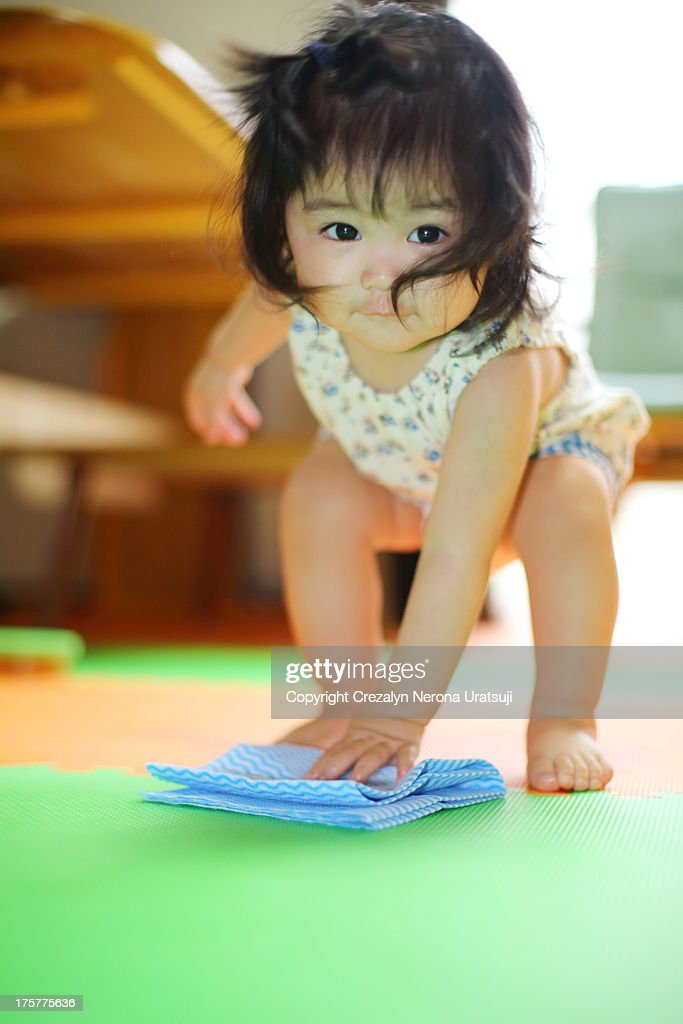 Happy cleaning baby (^_^) : Stock Photo