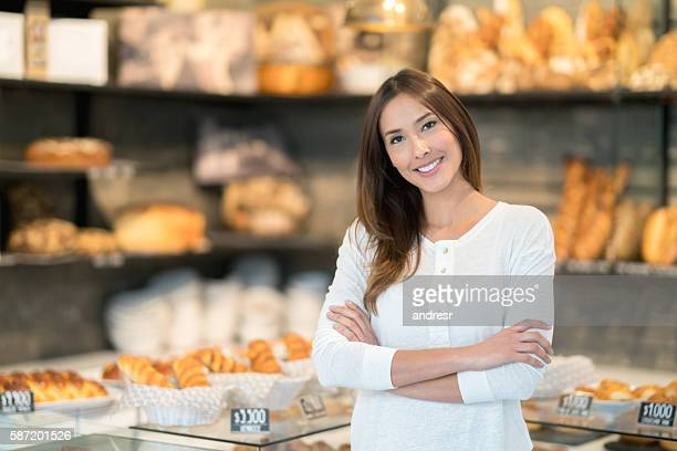 Happy client at a bakery