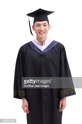 Happy College Graduate In Graduation Gown Stock Photo | Getty Images