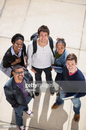 Happy College Students In Campus