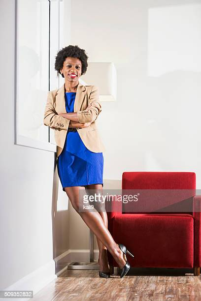 Happy confident young black business woman
